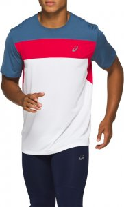 Asics Race SS Top White/Red/Blue
